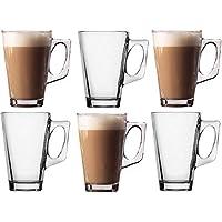 Takestop® - Juego de 6 tazas de 140 ml., taza para cappuccino, leche, bebida caliente, té, de cristal, con mango, vaso para bar
