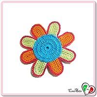 Flor naranja, verde y turquesa para aplicaciones, broche o imán de ganchillo - Tamaño