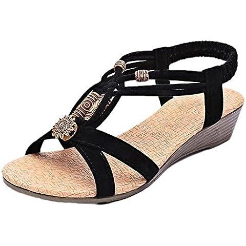 Minetom Mujer Vintage Sandalias De Cuña Verano Punta Abierta Sandalias De Playa
