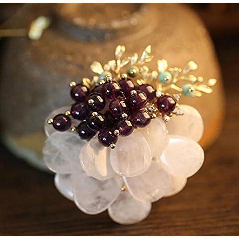 OUYANG Collana naturale Garnet Ciondolo cristallo rosa turchese spilla pin