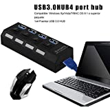 Professional 4 Port USB 3.0 Hub On/Off Switches AC Power Adapter Cable