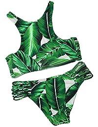 Summer Mae Mujer Conjuntos De Bikini Elástico Floral Acolchado Con Tejer