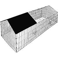 Deuba Enclos pour lapin - Cage à lapin - Parc à lapin métal extérieur 180x75cm Toit Amovible avec bâche pour protection UV