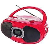 Stéréo Radio stéréo Ghetto Blaster portable stéréo Lecteur CD USB MP3Poignée (Port USB, MP3, portable, radio, AUX-IN, PLL, rouge)