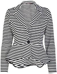New Womens Fitted Dip Hem Peplum Style Stripe Ladies Button Blazer Jacket