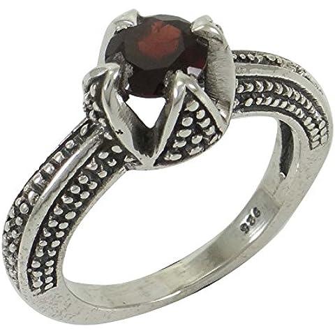 Granate Piedra marcó 925 anillo de plata esterlina Moda Joyería del indio