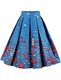 593c2b23b Jolisson Womens Summer Skirts A-Line Vintage Midi Pleated Dress High Waist  Bohemia Floral Knee