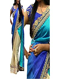 I-Brand Women's Georgette Saree With Blouse Piece (Isunsa1911,Blue,Free Size)
