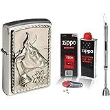 Zippo Briquet Cow and Edelweiss & Zippo Accessoires au choix + R S Tige Briquet Chrome, mit Zubehör L