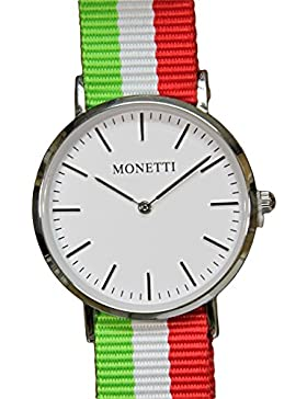 MONETTI unisex Armbanduhr Analog Quarz mit drei NATO-Armbänder in der Geschenk-Box