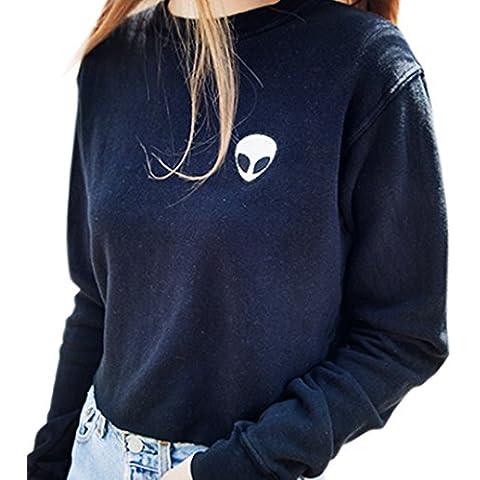 Uideazone Womens lettere associate Cotone Maglioni Felpe Outerwear Top nero