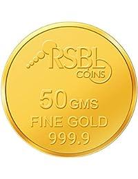 RSBL 50 gm, 24k (9999) Yellow Gold Ecoins Precious Coin