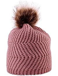 7c70f16a14d6 Sunenjoy Bébé Tricoté Chapeau Chaud Double Laine Unisexe Garçon Fille  Bonnet en Crochet Pompon Tressé Peluches