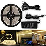 Strip Led Light Warm White Led Strip Light Kit Waterproof IP65 DC12V Led Light Strips SMD2835 600Leds Led Rope Light Led Tape Lights Flexible Led Light Strips + 12V 5A Power Supply Adapter