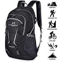 Loocower 45L Packable Ultralight Hiking Backpack, Foldable Lightweight Multi-functional Casual Camping Trekking Rucksack Cycling Travel Climbing Mountaineer Outdoor Sport Daypack Bag