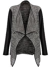 Trendz myMix nouvelle en cuir pour femme à manches longues style cascade veste en maille ouverte