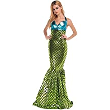 Disfraz de sirena para mujer - 2 piezas: 1 x top y 1 x falda - azul/verde - Talla S (36/38)