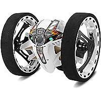 ZMH Coches RC Actualización Versión Jumping Bounce Mini Coches Juguete Ruedas Flexibles Rotación Música LED Luz Robot Coche Niños Regalos,White
