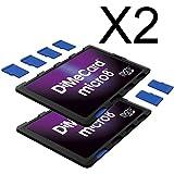 DiMeCard micro8 Porte Cartes Mémoire microSD MULTI-PACK, 2 pièces (Ultrafin, format carte de crédit, étiquette inscriptible)