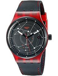 Swatch SUTR400 Unisex Sistem51 esfera de color negro de silicona de color negro de la correa de reloj de pulsera automático