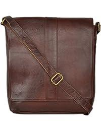 Leather World Unisex Sling Bag (Brown)