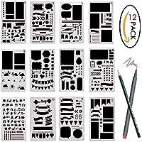 12 piezas plantilla de revista Planificador plástico del dibujo de la plantilla para el diario / el cuaderno / el libro de recuerdos, 4 x 7 pulgadas