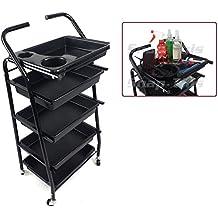 teknoh 4–Salon Carrito de almacenaje–(Gran acabado negro brillante)–Peluquería Peluquería Cabello Belleza cajones Spa Cart