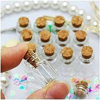 nicebuty 50pcs clavijas de 0,5ml pequeño Mini botellas de cristal tarros de botella con tapón de corcho/mensaje bodas Wish Joyería Recuerdo de la fiesta