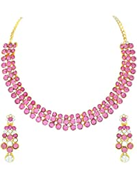 Atasi International Gold Plated Jewellery Set for Women (Pink)(GP1920)