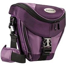Mantona Premium - Funda para cámara reflex (correa para hombro, cierre de cremallera y clip), color lila