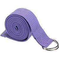 Yoga Cinturon - SODIAL(R)moda accesorio de Yoga Cintura Pierna fitness ajustable 180CM Correa entrenamiento estiramiento D-Ring algodon hebilla de cinturon purpura claro