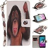 Qiaogle Téléphone Coque - PU Cuir rabat Wallet Housse Case pour Samsung Galaxy A5 (2016) / A5 (2016) Duos / A510 (5.2 Pouce) - TX87 / Monkey