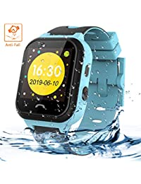 Kids Tracker Smart Watch Phone, Vannico Touch Screen Mobile Smart Watches for Girls Boys, Waterproof Anti-fall SOS Sim Smartwatch with Flashlight, Camera, Alarm for Kids (Blue)