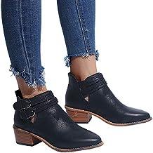 Botas Cortas de Invierno para Mujeres, Moda Mujeres Zapatos con Punta en Punta