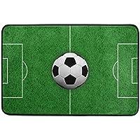 COOSUN 3D Rendering Fußball auf Feld Fußmatte, Eintrag Weg Indoor Outdoor Tür Teppich mit Non Slip Backing, (23,6 von 15,7-Zoll)