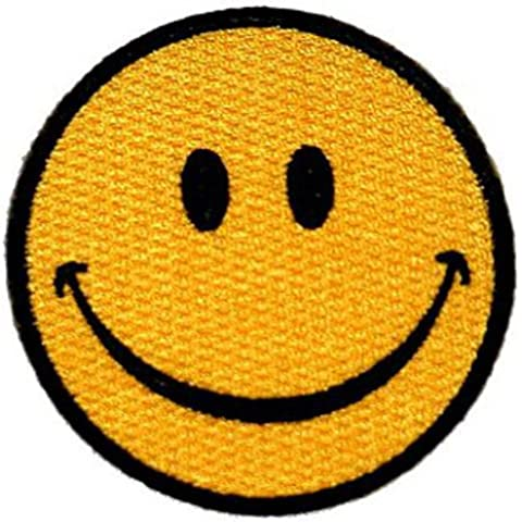 Smiley Face Embroidered Patch 7CM Dia(2-3/4 Dia) by Klicnow