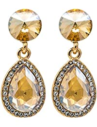 Kiyara Accessories Gold Plated Tear Drop Glass Bead Dangle Earrings For Woman And Girls.
