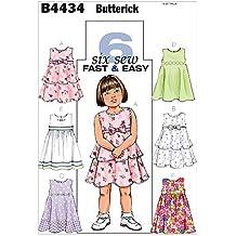 Butterick 4434 CB - Patrón de costura para confeccionar vestidos de niña (6 modelos diferentes