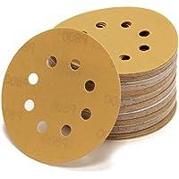 Woltersberger 10 Stück Exzenter Schleifscheiben Ø 125mm   Körnung P40   8 Loch in gold   für optimales schleifen, vielseitig einsetzbar   Klett Schleifpapier Haft