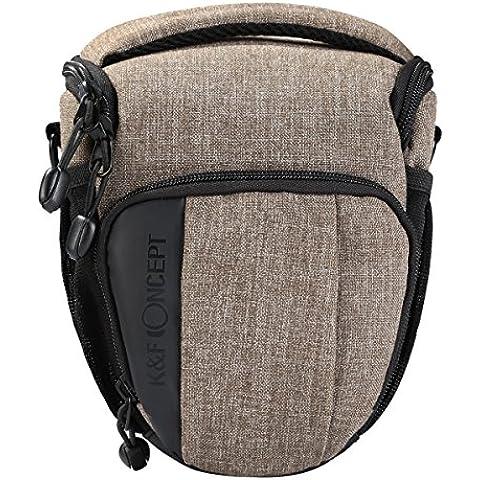 K&F Concept - Funda para Cámara Reflex para Una cámara sin espejo / DSLR, Bolsa para Cámara para Canon Nikon Sony Cámaras , Color Caqui + Funda de