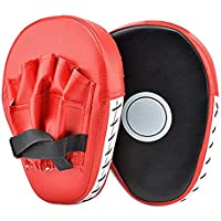 2PCS PU Leather Punching Kicking Palm Pad Hook & Jab Strike Pad Boxer Target Focus Punch Mitt Pad Boxing Mitts Gloves Curved for Training of Karate Combat MuayThai Kick Boxing UFC MMA. (1 Pair, Red)