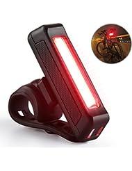 Luz Trasera Bicicleta, Fivanus Luz Lámpara Trasera Portátil USB Recargable 3W 100 Lúmenes,6 Modos adaptable a cualquier Tipo de Bicicleta, Cascos o Mochilas, Luz de advertencia de seguridad