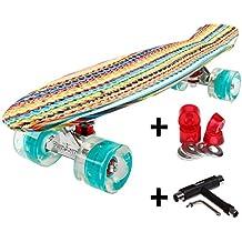 FunTomia® Mini Skateboard 57cm - Con o sin LED Ruedas - Wheel 59mmx45mm (82A) - Rodamiento ABEC-11 (rojo - Con rojo LED Ruedas)