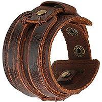 Rivetti braccialetti in vera pelle fascia larga, Casual da uomo grande in lega Bracciale a bottone Link Design regolabile