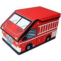 Preisvergleich für TE-Trend Textil Feuerwehrauto Aufbewahrungsbox Spieltruhe Spielbox faltbar mit geteilten Fächern mit Deckel