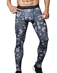 Hombres Compresión Leggings Camuflaje Polainas Apretadas Larga Deportes Pantalones