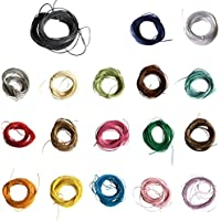 P Prettyia 18 Colores 10 Metros Cuerda de Cuero de Nylon para Pulsera Fabricación de Abalorios Manualidades Artesanía y Bisutería