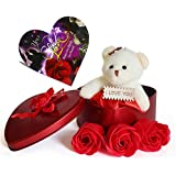 Saugat Traders Best Love Gift For Girls Heart Shape Love Card And Red Rose Soap Flower Scented Soap Flower Petals With Box & Soft Teddy Bear