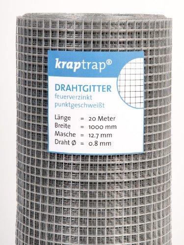 *KrapTrap® Volierendraht, Drahtgitter, 12.7 mm Masche, 100 cm Breite, 20 m Länge Grundpreis 1,99 EUR/m*