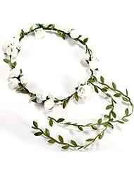 SODIAL(R) 3 Fleur/ banquet! Serre tete Accessoire bandeau Cheveux Mariage Foral head garland wedding Headband Blanc